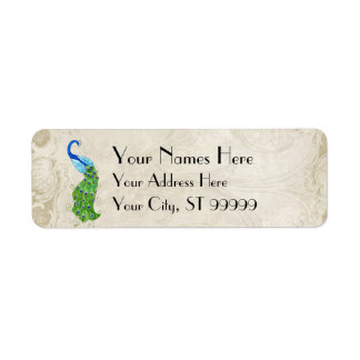 Art Deco Style Peacock Baroque Matching Shipping Return Address Label