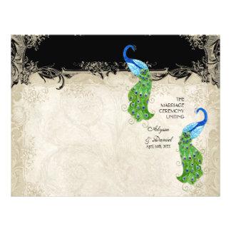 Art Deco Style Peacock Black n Cream Vintage Lace 21.5 Cm X 28 Cm Flyer