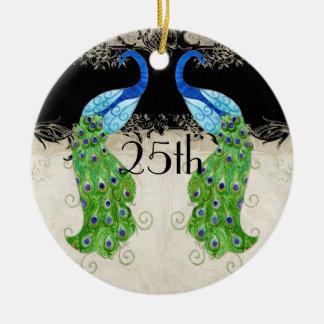 Art Deco Style Peacock Black n Cream Vintage Lace Christmas Ornament
