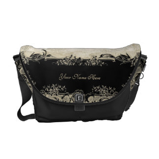 Art Deco Style Peacock Black n Cream Vintage Lace Commuter Bags