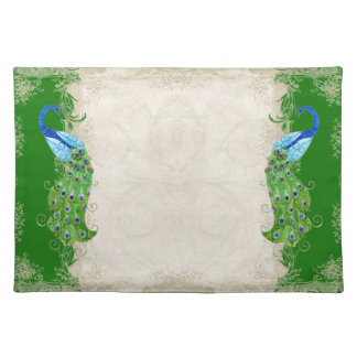 Art Deco Style Peacock Emerald Green Vintage Lace Placemat