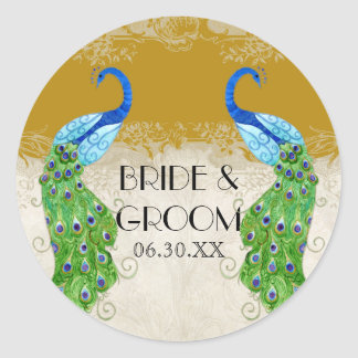 Art Deco Style Peacock Gold Favor Gift Tags Seal Round Sticker