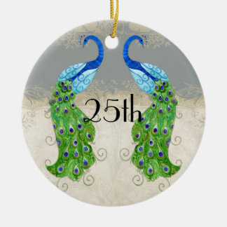 Art Deco Style Peacock Grey Vintage Lace Christmas Ornament