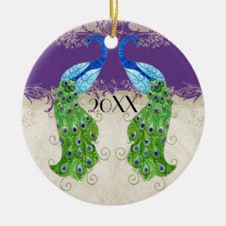 Art Deco Style Peacock Purple n Cream Vintage Lace Christmas Ornament