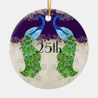 Art Deco Style Peacock Vintage Lace Dark Purple Christmas Ornament