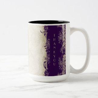 Art Deco Style Peacock Vintage Lace Dark Purple Two-Tone Mug