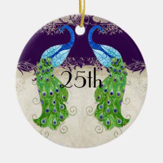 Art Deco Style Peacock Vintage Lace Dark Purple Round Ceramic Decoration