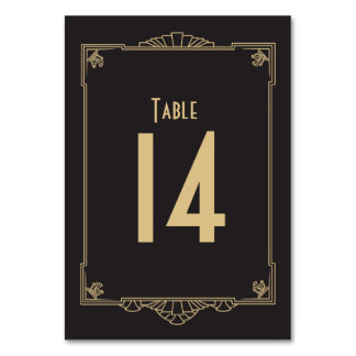 Art Deco Style Table Number Table Cards