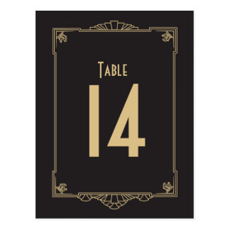 Art Deco Style Table Numbers Postcard