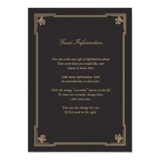 Art Deco Style Wedding Insert Card 11 Cm X 16 Cm Invitation Card