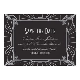 Art Deco Style Wedding Save the Date (Silver) 13 Cm X 18 Cm Invitation Card