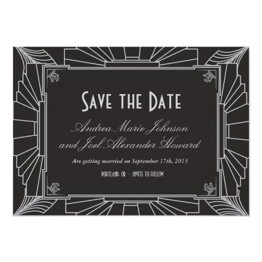 Art Deco Style Wedding Save the Date (Silver)