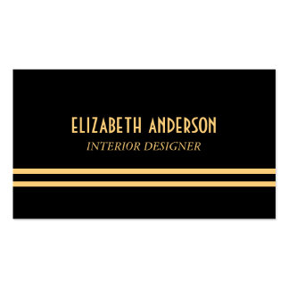 Art Deco Stylish Lines - Gold & Black Pack Of Standard Business Cards