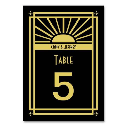 Art Deco Sunburst Table Numbers Cards Table Card