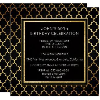 Art Deco Suprise Birthday Party Black Golden Foil Card
