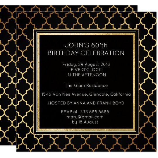 Art Deco Suprise Birthday Party Black Golden Foil