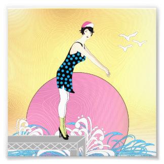 Art Deco Sweet Swimmer Lady Photo Print