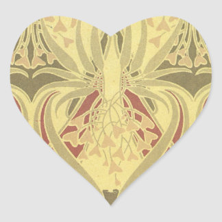 art deco swirl abstract vintage pattern art heart stickers