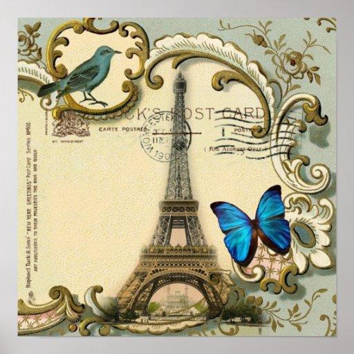 Art Deco swirls butterfly Eiffel Tower Paris Print