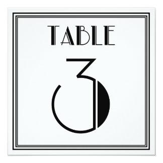 Art Deco Table Number 3 13 Cm X 13 Cm Square Invitation Card