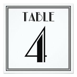 Art Deco Table Number 4 13 Cm X 13 Cm Square Invitation Card