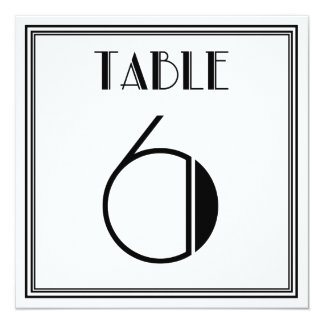 Art Deco Table Number 6 13 Cm X 13 Cm Square Invitation Card