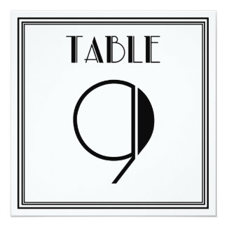 Art Deco Table Number 9 13 Cm X 13 Cm Square Invitation Card