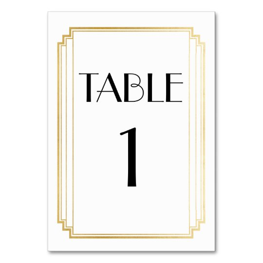 Art Deco Table Number Gold & White Wedding