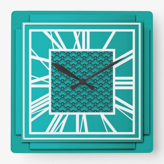 Art Deco, teal blue Square Wall Clock