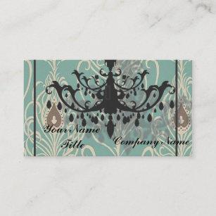 Black chandelier business cards zazzle uk art deco teal peacock vintage black chandelier business card reheart Gallery