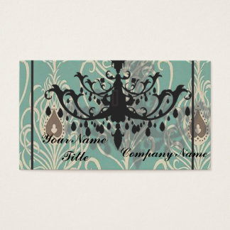art deco teal peacock vintage black chandelier business card