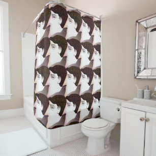 Art Deco Tessellated Faces Shower Curtain