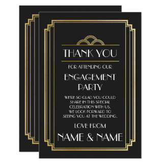 Art Deco Thank You Engagement Wedding Cards