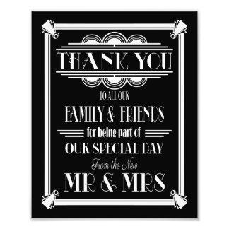 art deco, Thank You sign, wedding sign