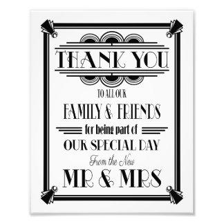 art deco, Thank You sign, wedding sign BLACK TEXT