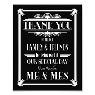 art deco, Thank You sign, wedding sign Photographic Print