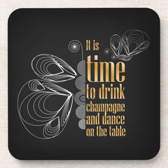 Art deco themed golden and black drink coaster