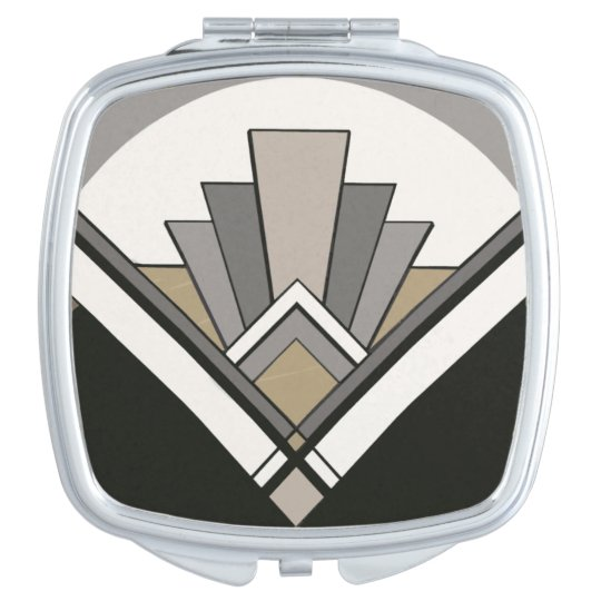 Art Deco Tile Mirror Compact Mocha Travel Mirror