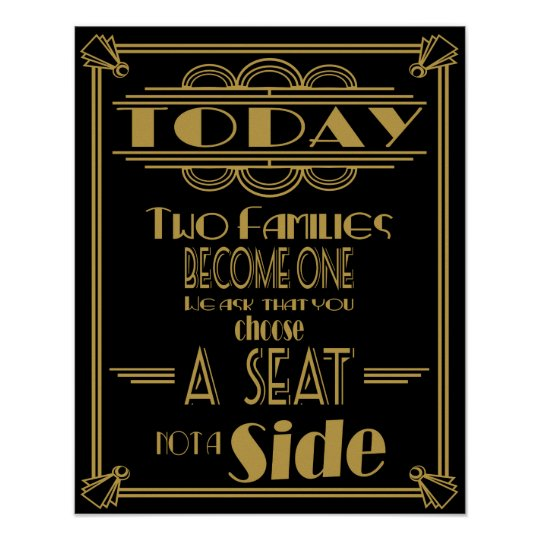 "Art Deco ""Today two families become one poster"