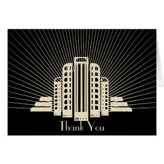 Art Deco Tower Ray in Black and Ivory Thank You Note Card