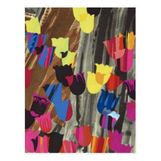 art deco tulips postcard