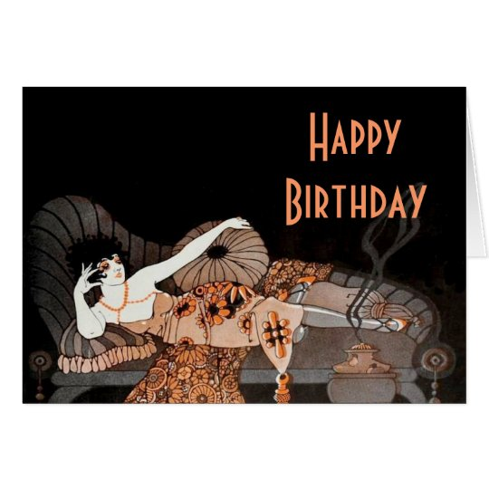 Art Deco Twenties Lounging Lady Birthday card
