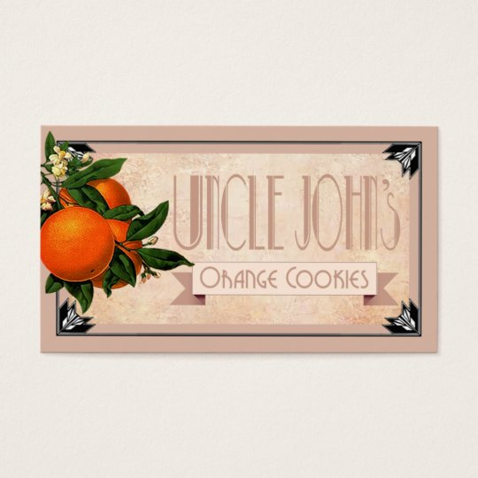 Art Deco Uncle John's orange cookies favour | Business Card