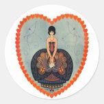 Art Deco Valentine Classic Round Sticker