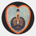 Art Deco Valentine Round Sticker