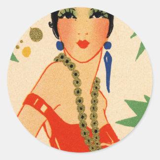 Art Deco Vamp, 1920s Flapper Classic Round Sticker