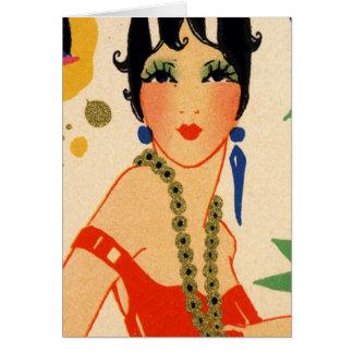Art Deco Vamp, 1920s Flapper Greeting Card