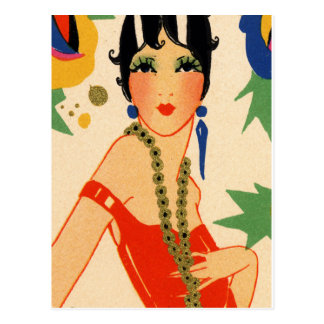 Art Deco Vamp, 1920s Flapper Postcard