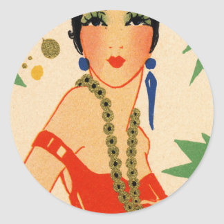 Art Deco Vamp, 1920s Flapper Round Sticker