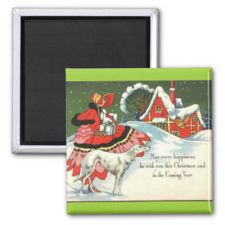 Art Deco Victorian Style Christmas Greeting Magnet